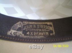 Vintage STETSON THE OPEN ROAD Cowboy hat mens 7 1/8 silver belly Tan 4x Beaver