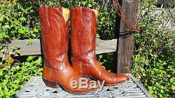 Vintage T. O. Stanley Cowboy Boots Bull Hide Tan Mens 10 (G36)