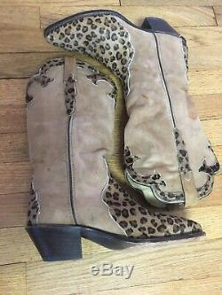 Vtg Dan Post Ladies Leopard Brown Leather Tall Cowboy Boots Womens 8.5 M Western