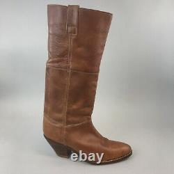 Vtg Saxone Buffalo Tan Brown Leather Cowboy Riding Pull on Boots US10 D UK9.5