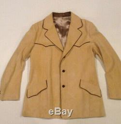 Vtg Scully Men's Western Tan Suede Leather Blazer Jacket Cowboy SIZE 42 VGUC