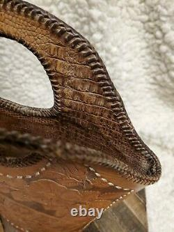 Vtg Tan Hand Tooled Leather Western Bag Cowboy Horse Large Brown Whipstitch Tote