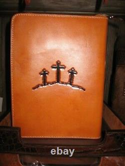 Western Leather Bible Cover-Unisex-Floral Tooled-Christian Cowboy-Saddle Tan