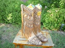 Women's NIB 8.5 M Corral Tan Fringed Layers & Studs Cowboy Fashion Boots C2988