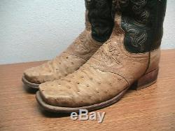 Womens 8.5 B Lucchese Tan Full Quill OSTRICH Square Toe Western Cowboy Boots