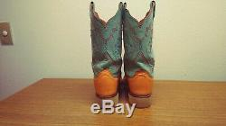 Womens 9 B Lucchese Tan/Teal Exotic FULL QUILL OSTRICH Square Toe Cowboy Boots