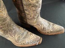 Womens Circle G Corral L5133 Size 5.5 Leather Cowboy Boots Snip Toe Brown Tan