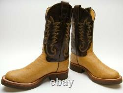 Womens Justin J2947 Tekno Crepe Sole Real Tan Ostrich Cowboy Western Boots 7 C