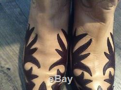 Womens LUCCHESE Charlie One Horse Western Cowboy Boots size 9 Brown Tan 2 tone