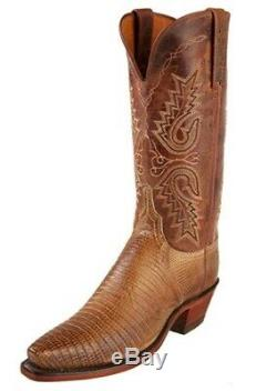 Womens Lizard & Tan Mad Dog Goat Cowboy Boots by Lucchese, Womens 8.5C/Mens 7D