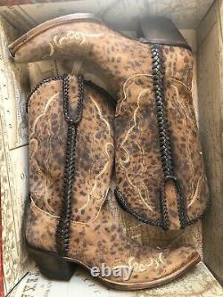 Womens Lucchese Boots, Camel Tan Cheetah WithBraid, Size 10 C, M 5040, GORGEOUS