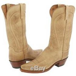 Womens Lucchese Tan Ranch Hand Burnished Leather Cowboy boots (N4603), Size 8.5