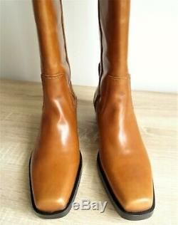 Zara Brown/tan Leather Cowboy-heel Boots With Square Toes Size Uk 5 Eu 38 Us 7.5